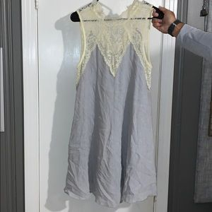 Grey dress with rustic lace bodes! Worn once!